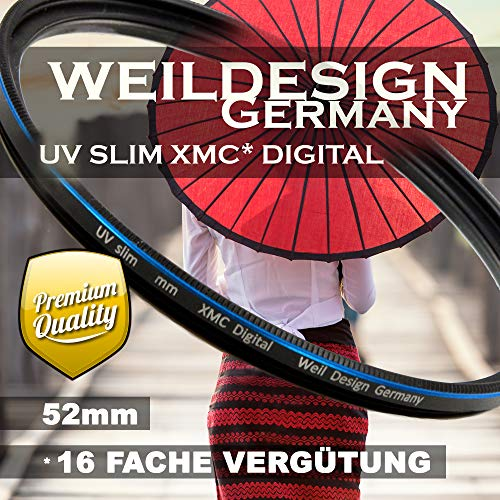 UV Filter 52mm Slim XMC Digital Weil Design Germany SYOOP * Objektivschutz * blockt ultraviolettes Licht * Frontgewinde * 16 Fach vergütet XMC * inkl. Filterbox (UV Filter 52mm)
