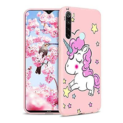 ZhuoFan Funda Xiaomi Redmi Note 8T, Cárcasa Silicona Rosa con Dibujos Diseño Suave Gel TPU Antigolpes de Protector Piel Case Cover Bumper Fundas para Movil Xiaomi Redmi Note 8T, Unicornio 01