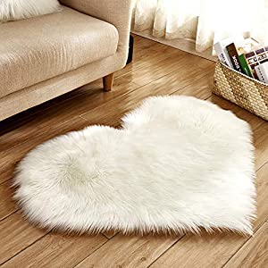 Heart Shaped Soft Faux Sheepskin Fur Area Rugs for Home Sofa Floor Mat Plush, 3ft x 2.2ft (White)