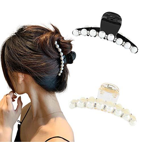Runmi Haarklammern Perlen Haarspangen Haarspangen Kristall Haarklammern Haarschmuck für Frauen und Mädchen (2 Stück)