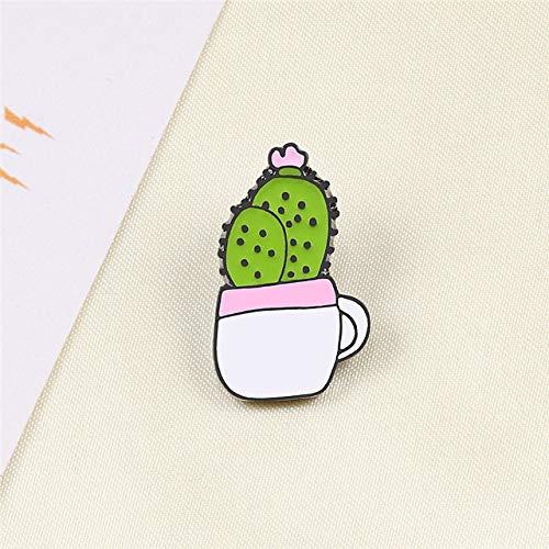 Placas cactus de la historieta de la planta en maceta de girasol del esmalte del metal broches de la manera Pin Escudo Mochila linda pernos de la solapa joyería y accesorios ( Metal color : 2 )