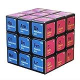 JUSEN Magic Cube 3X3x3 Elemento Químico Tabla Periódica Impresión UV Puzzle Speed Cube El Juguete Mágico Creativo para Niños Regalo Navideño para Niño Niña Adultos Descompresión Relax,Negro