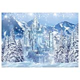 Funnytree 7x5FT Winter Castle Photography Backdrop Blue Ice Frozen Forest Wonderland Background Snow Mountian Pine Tree Baby Shower Kids Birthday Party Supplies Decoration Photo Booth Prop
