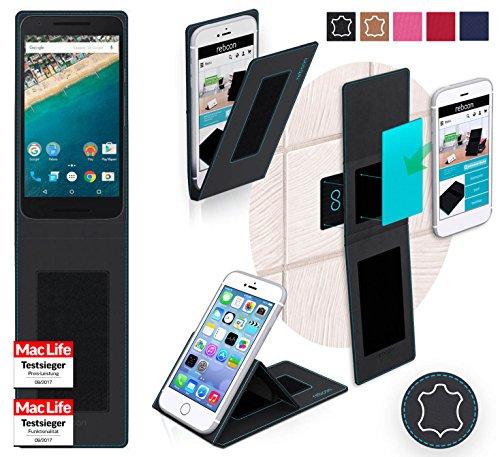 reboon Hülle für LG Nexus 5X Tasche Cover Case Bumper | Schwarz Leder | Testsieger