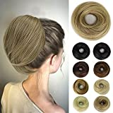 EAWWII Messy Hair Bun Hair Piece Straight Scrunchie Updo with Elastic Rubber Band Extension Synthetic Ponytail Chignon Donut for women(Golden Brown Mix Ash Blonde)