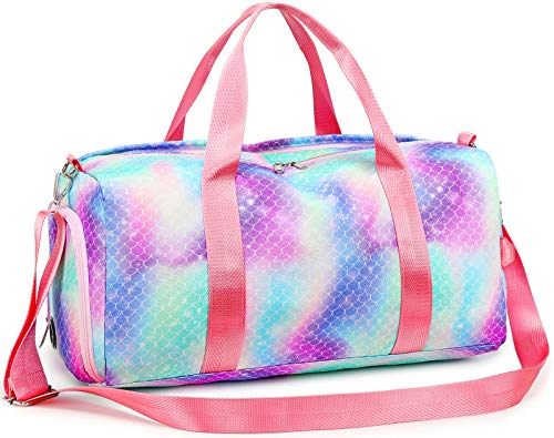 Duffle Bag for Girls Women Gym Sport Duffel Overnight Travel Bag Weekender with Shoe Compartment, Wet Pocket (Mermaid)