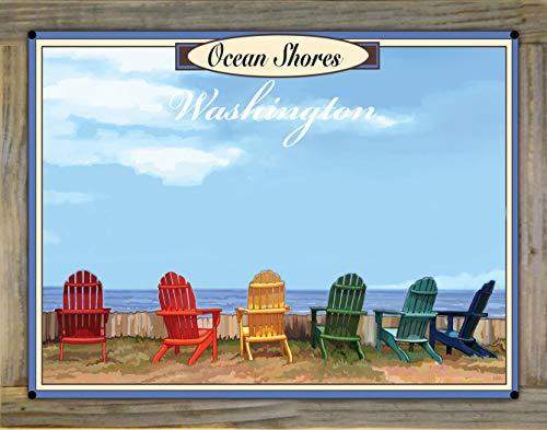 Northwest Art Mall Ocean Shores, Washington Adirondack Chairs Metal Print on Reclaimed Barn Wood from Alla Prima Painting by Artist Joanne Kollman 18' x 24'