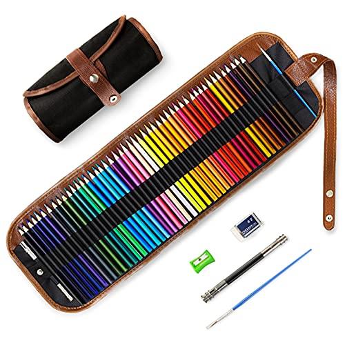 48 Buntstifte Set, TOYESS Professionelle Wasserlösliche Bleistift Set für Erwachsene Kinder Farbmischung Malen und Skizzen, Holzfarbstifte für Malbücher