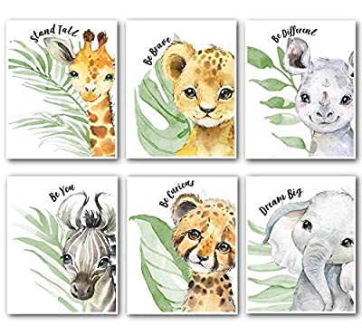 Gawell Baby Animals Nursery Decor Watercolor Art Posters Prints Set of 6 Unframed Wall Prints 8x10 Cute Animal Photography Wall Art Prints for Baby Boys & Girls Decorations for Room