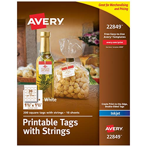 """Avery Printable Tags for Inkjet Printers Only, Square Tags With Strings, 1.5"""" x 1.5"""", 200 Tags (22849), White"""