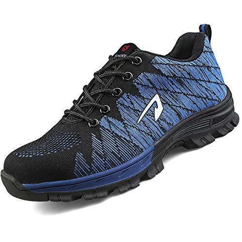 SUADEEX Arbeitsschuhe Damen Herren Sicherheitsschuhe s3 Leicht Stahlkappen Sportlich Schuhe, Blau, 43 EU