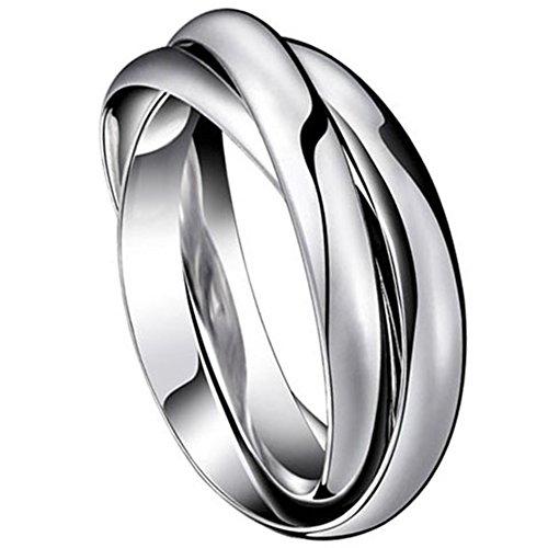 Oidea 3 Anelli intrecciati acciaio inossidabile Fidanzamento moda Uomo Donna argento(Regalo una collana catena puo` indossare anche come collana)