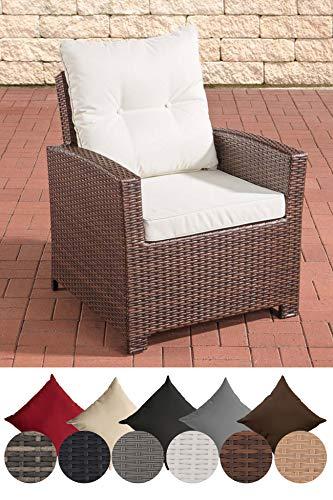 CLP Polyrattan-Sessel Fisolo Mit Sitzkissen I Gartenstuhl Mit Untergestell Aus Aluminium, Farbe:braun-meliert, Polsterfarbe:Cremeweiß