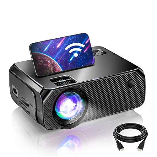 Bomaker WiFi Mini Projector, Outdoor Movie Projector Native 1280x720P and 200 Inch Picture, 1080P Supported Compatible with TV Stick, Video Games, HDMI, USB, TF, VGA, AUX, AV