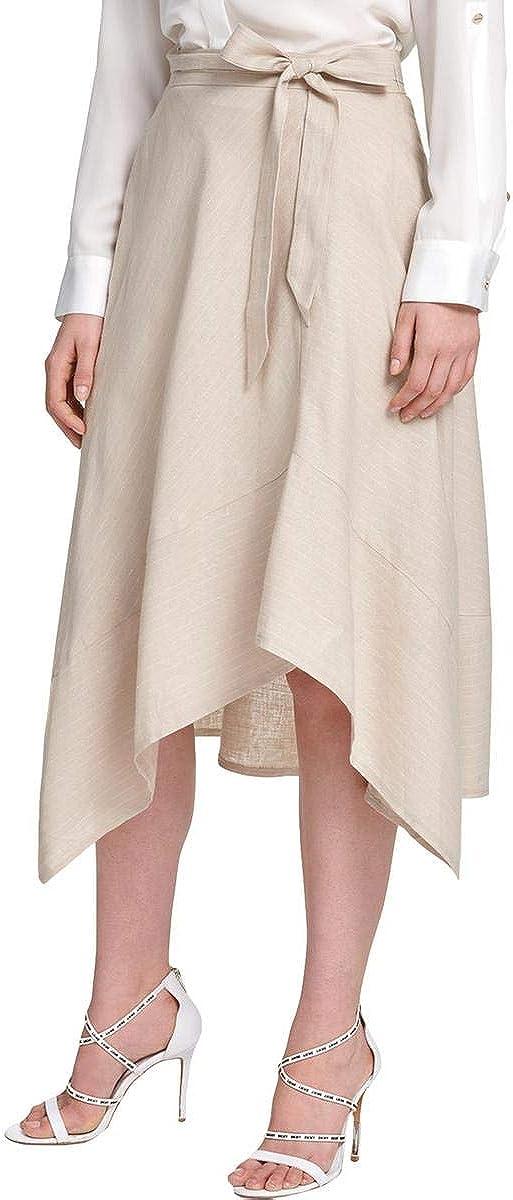 DKNY Womens Beige Pinstripe Midi Wear to Work Skirt Size 16