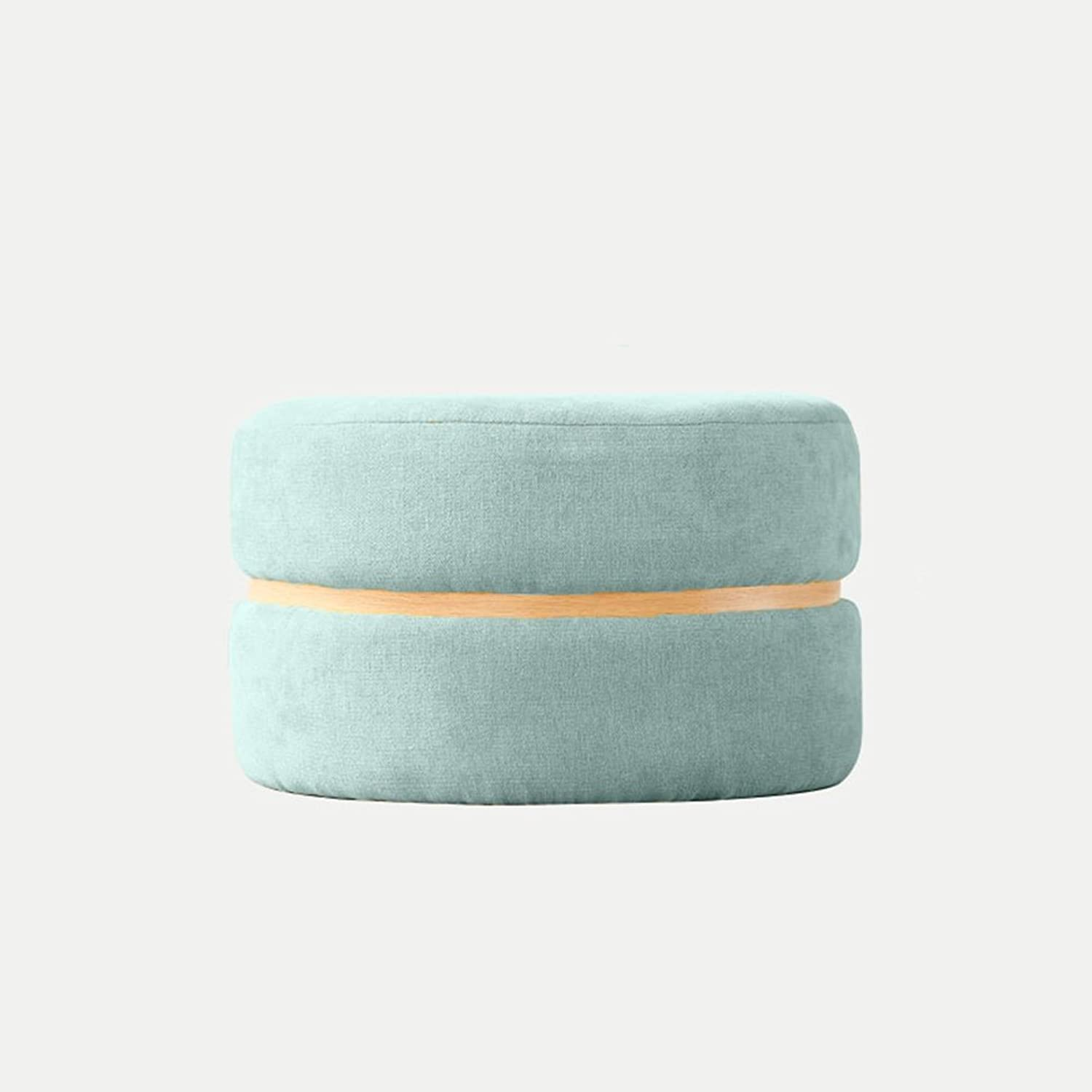XIAO YING Footstool Osman Soft Wood Frame Macaron Creative Home Fabric Small Stool Low Stool For shoes Short Cute Biscuit Flannel Round, 4 colors, 2 Creative Sool