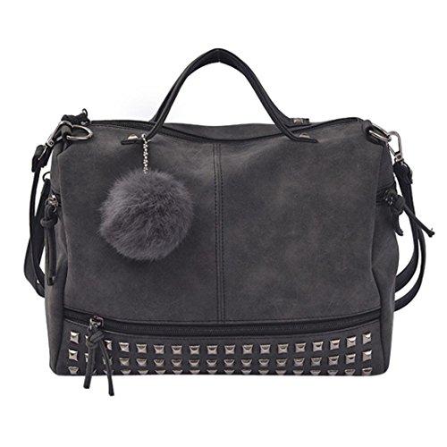 zarupeng-bolsas grande del bolso de hombro de la taleguilla del totalizador del bolso del remache de las mujeres (Negro)