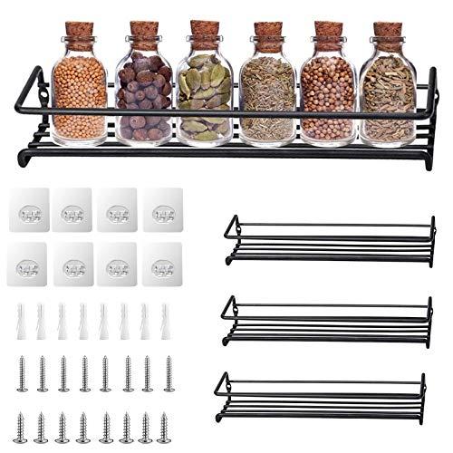 TWBEST Étagère à Épices , Étagère à Épices Murale ,4 ÉtagesPorte-Épices Mural ou Fixation Porte Meuble avec vis | pour 32 Pots dÉpicesRangement de Cuisine