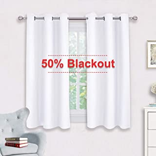 NICETOWN Window Draperies Curtains Panels - Blocking Out 50% Sunlight Curtains, Grommet Top Small Window Drapes for Bedroom (2 Panels, 42 by 45, White)