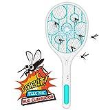 Raqueta Mosquitos Eléctrico, Matamoscas Eléctrico,Matamosquitos Eléctrico,recargable por USB, protección de malla de seguridad de 3 capas,Adecuado para mosquitos, moscas, abejas, polillas