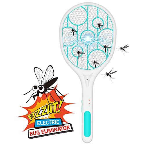Elektrische Mückenklatsche, Elektrischer Fliegenvernichter,Elektrische Klatsche, wiederaufladbare USB-LED-Licht-3-Schichten-Schutznetzschutz, Geeignet für Mücken, Fliegen,...
