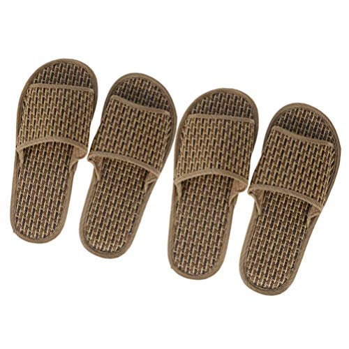 FAVOMOTO 2 Paar Bambus Hausschuhe Anti-Rutsch-Strohpantoffeln Open-Toe-Bad Sandale Holzboden Hausschuhe Indoor Leichte Schuhe für Männer Frauen Größe 39/40 + 44/45 (Kaffee)