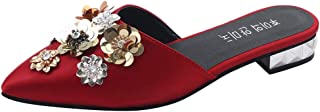 Voberry Women's Fashion Pointed Toe Floral Outdoor Slippers Square Heels Shoes