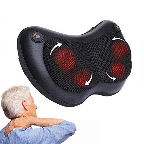 Almohada de masaje, masajeador de hombro eléctrico con masajeador de amasado de tejido profundo calor para espalda, hombro, cintura, apagado automático y protección contra sobrecalentamiento