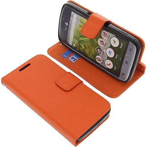foto-kontor Tasche für Doro 8031 Book Style orange Kreditkarte Schutz Hülle Buch