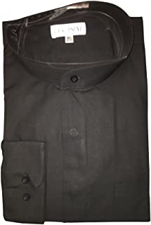 Big and Tall Banded Collar Clergy Shirt Barrel Cuff in White Black