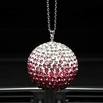 Lucky Crystal Ball Car Accessories Bling Bling Car Rear View Mirror Charm Rhinestone Hanging Ornament for Car Decoration & Home Decor  Crystal Sun Catcher Ornament for Women Men  Pink