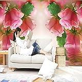 WPFZH 3D Mural Papel Pintado de paisaje de sala de Estar Rosa rosa Mural de pared Papel fotográfico para paredes Pintura de pared no tejida Decoración para el hogar-300x210cm