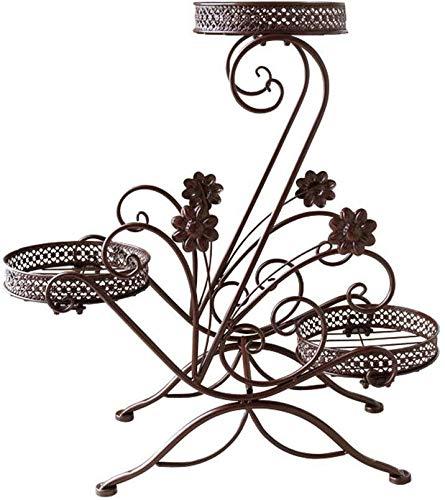 XWYHJ Soporte de Flor de Muchos Niveles de Hierro Forjado Interior Marco balcón habitación de la Planta Estante del pote (Color : Chocolate Color, tamaño : Un tamaño)