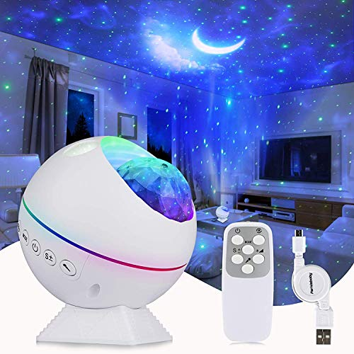 Tobeape LED Sternenhimmel Projektor Lampe, Ozeanwellen Projektor Nachtlicht, Romantische Atmosphäre Lampe 360°Drehen Perfekt für Baby Kinder Party, Familientreffen, Auto, Weihnachtsgeschenke
