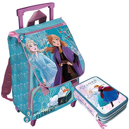 Frozen 2 Schoolpack - Zaino Trolley Scuola più Astuccio 3 Zip Completo Di Cancelleria