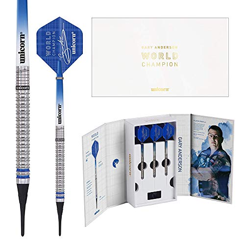 Unicorn 2019 Edition - Gary Anderson World Champion Soft Tip Darts Dartpfeile mit weicher Spitze, blau, 20 g