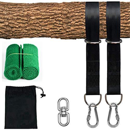 LEERAIN Kit de correa de hombro ajustable + mosquetón de 100 kg + gancho oscilante para una instalación rápida y fácil de Tree Swing.