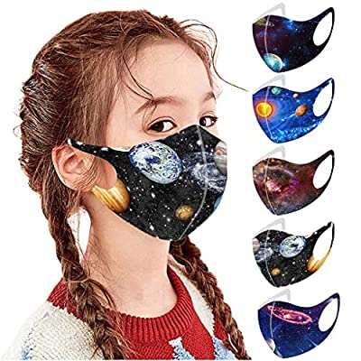Xingopy 5 Pcs Christmas Kids Washable Face_Masks Comfortable Cotton Reusable Festival Party Holiday Cute Funny Face_Mask