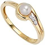 JOBO Damen-Ring aus 333 Gold mit Perle und Zirkonia Größe 52