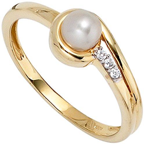 JOBO Damen-Ring aus 333 Gold mit Perle und Zirkonia Größe 50