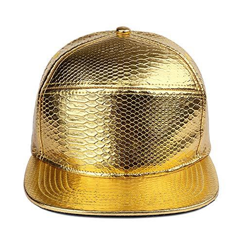 sdssup Krokodilleder Leichter Körper Flache Kappe Baseballmütze männlich und weiblich Hut Gold einstellbar