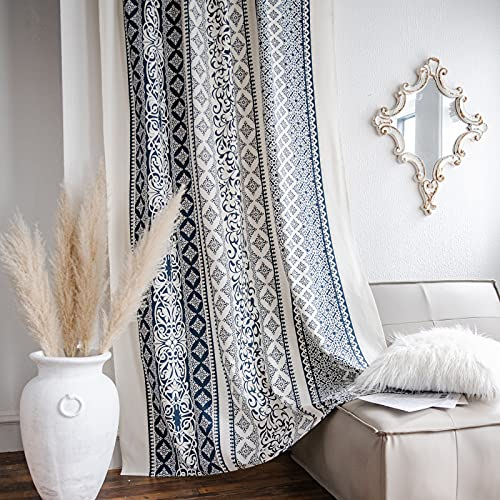 Lahome Boho Living Room Curtains 84 Inch Length 2 Panels Set, Blue&Cream Floral Farmhouse Cotton Curtain & Drapes, Rod Pocket Semi-Blackout Country Style Window Treatment for Bedroom Dining Kitchen