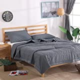 NTCOCO 3 Piece Comforter Set Thin Quilt Lightweight Comforter,100% Washed Cotton,Machine Washable,Soft Comfy Breathable Can Sleep Naked (Grey, Queen)
