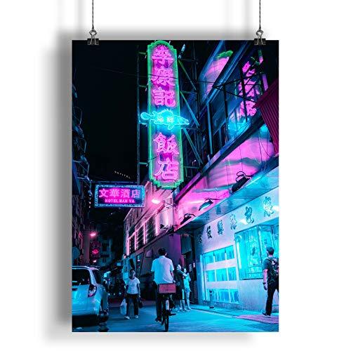 INNOGLEN Lettere Cinesi insegne al Neon Viola A0 A1 A2 A3 A4 Satin Foto Poster a2575h