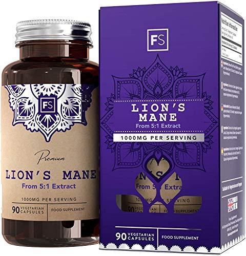 FS Lions Mane Mushroom Complex Supplement | 1000mg Lion's Mane Per Serving | 180 Vegan Capsules | High in (β) Beta Glucan Polysaccharides | Non GMO | Gluten, Dairy & Allergen Free | Made in The UK