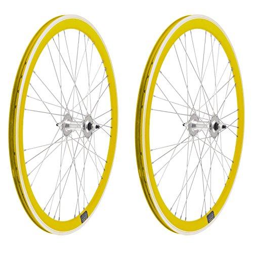 ONOGAL 2X Llanta Rueda para Bicicleta Fixed Fixied de 700 Aluminio CNC MECANIZADO Piñon Fijo Color Amarillo 3750amarillo