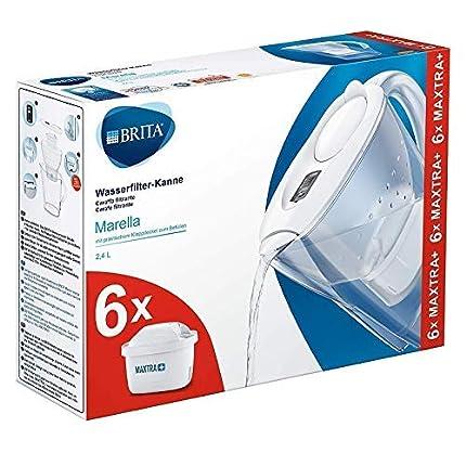 BRITAMarellablancaPack Ahorro – Jarra de Agua Filtrada con6 cartuchos MAXTRA+, Filtro de agua BRITA que reduce la cal y el cloro, Agua filtrada para un sabor óptimo,2.4L