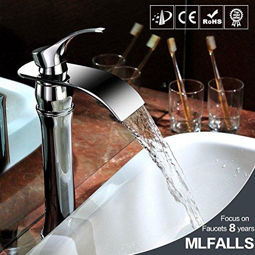 Maifeini - Grifo monomando para lavabo de baño (1 agujero), diseño de cascada