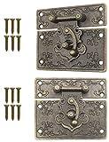 FUXXER® - 2 cierres antiguos, ganchos, candado, diseño de hierro bronce, herrajes para cajas, 67 x 58 mm, incluye tornillos, juego de 2 unidades.