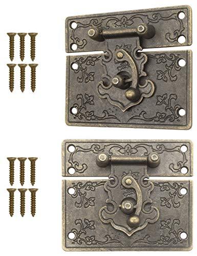 Fuxxer – 2 x chiusure anticate in bronzo, design in ferro, gancio per rast, serratura a cassette, scaffale, 67 x 58 mm, con viti
